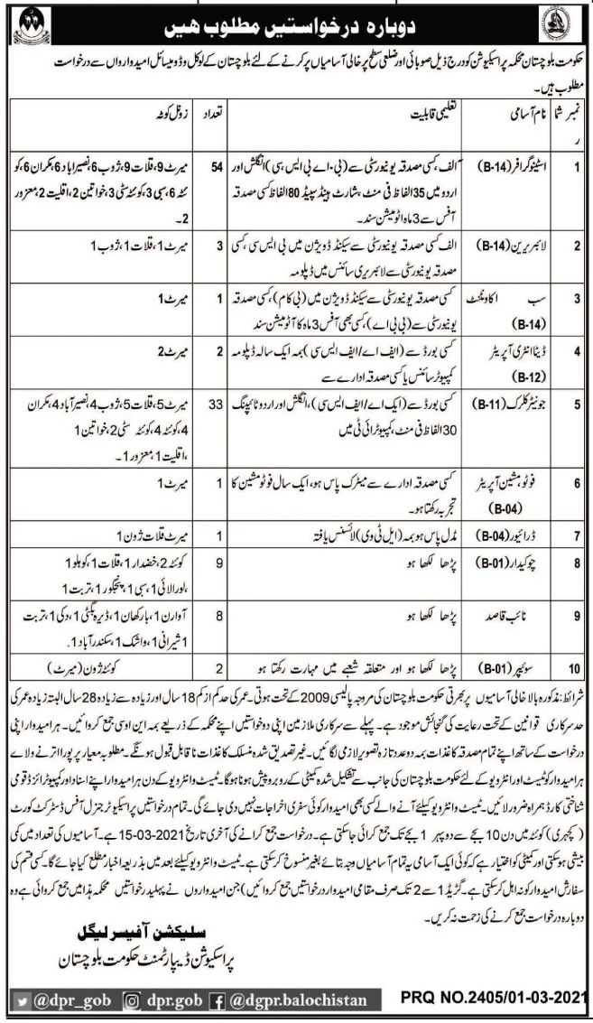 Prosecution Department Jobs March 2021
