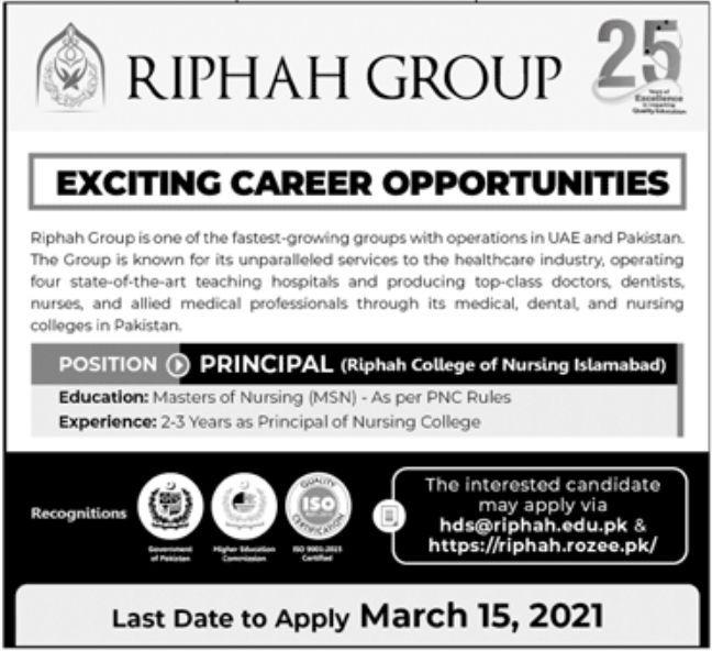 Riphah Group Jobs March 2021