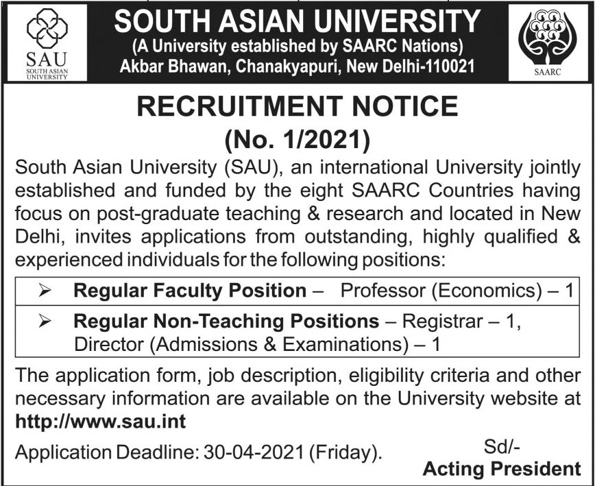 South Asian University SAU Jobs March 2021