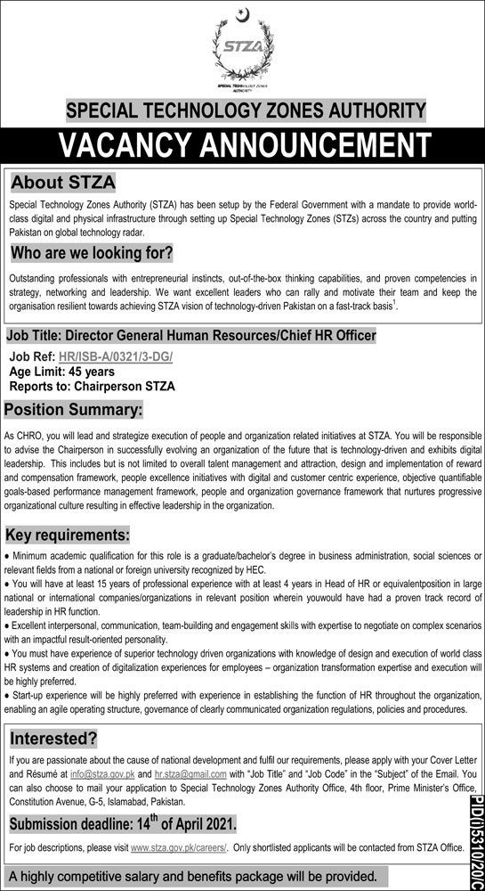 Special Technology Zones Authority STZA Jobs March 2021