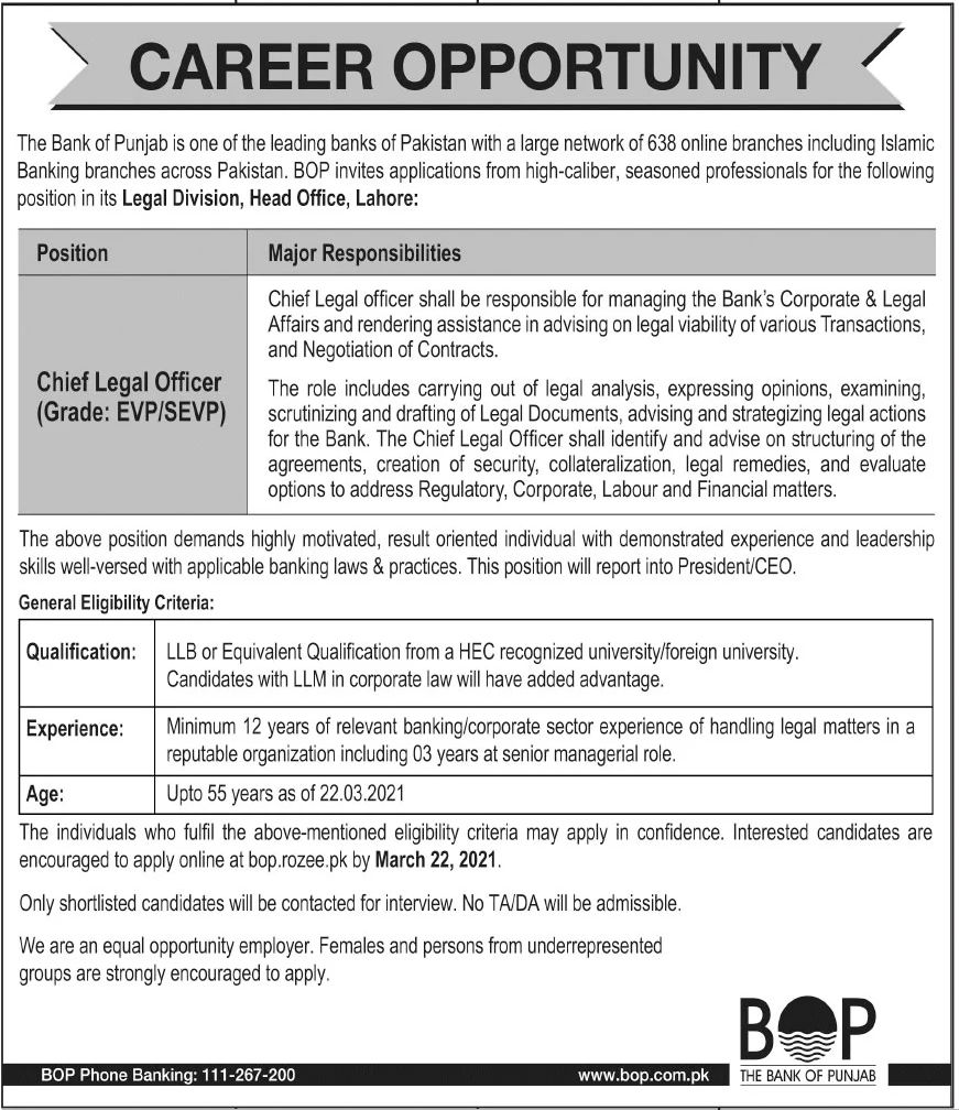 The Bank of Punjab BOP Jobs March 2021