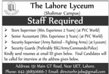 The Lahore Lyceum Jobs March 2021