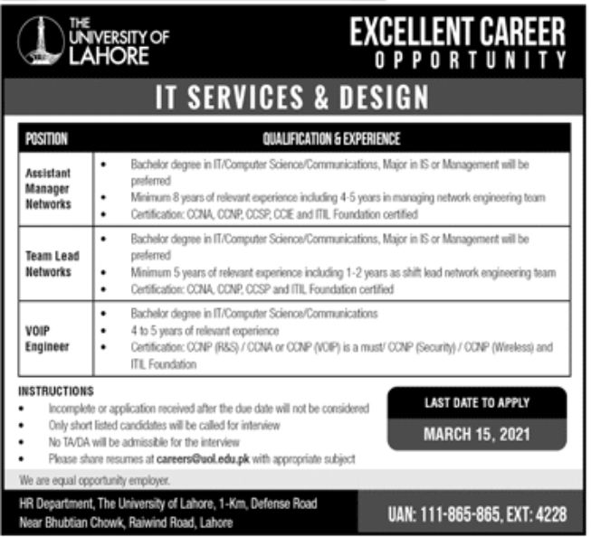 The University of Lahore UOL Jobs March 2021