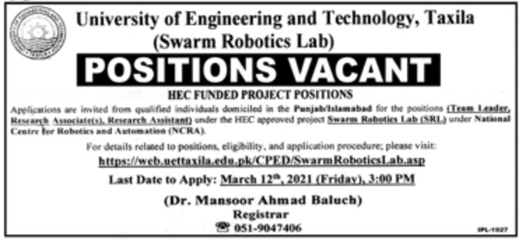University of Engineering and Technology Taxila Jobs March 2021