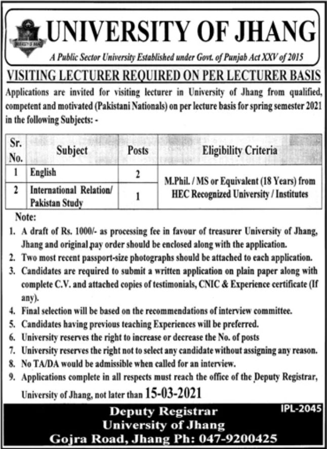 University of Jhang Jobs March 2021