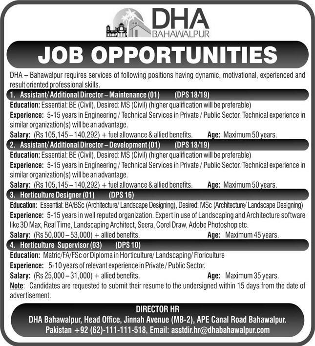 DHA - Bahawalpur Jobs April 2021