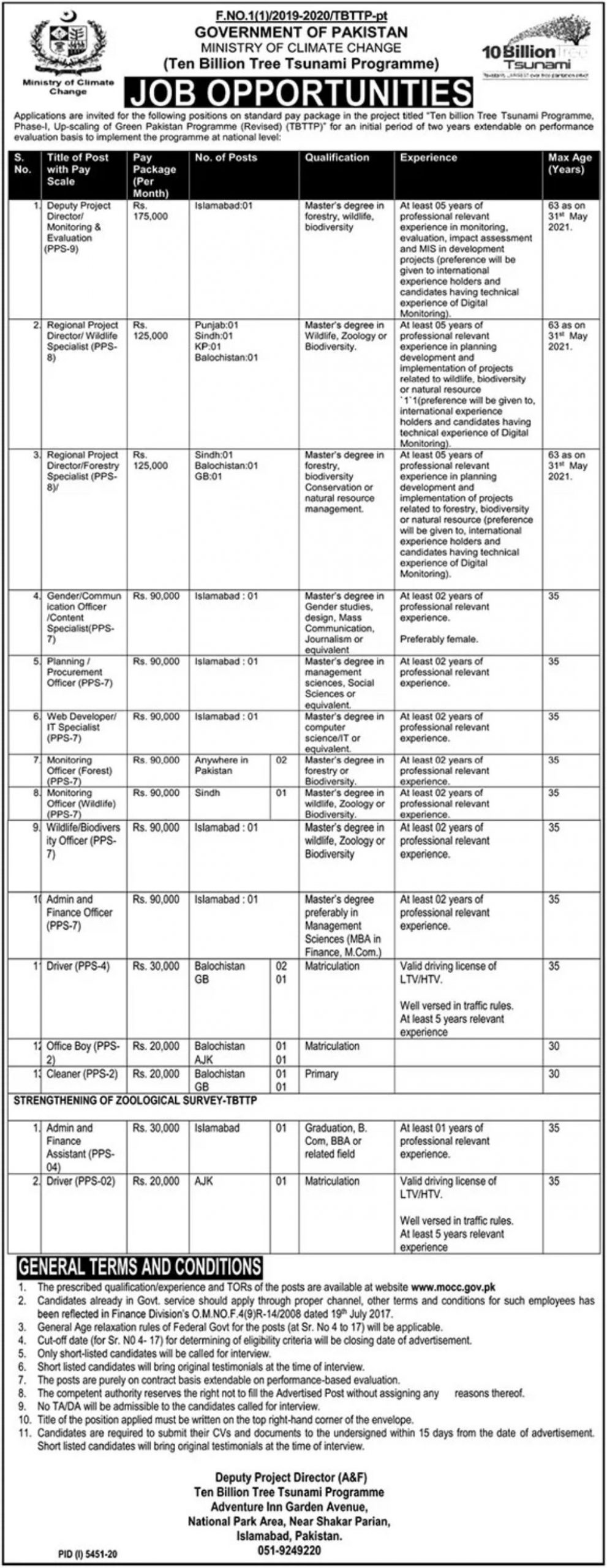 Government of Pakistan Ministry of Climate Change Jobs April 2021