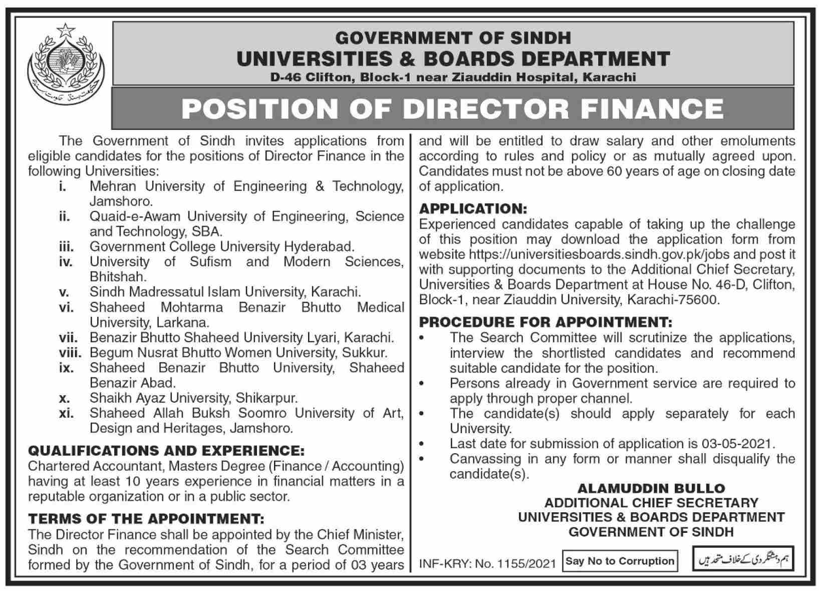 Government of Sindh - Universities & Boards Department Jobs April 2021