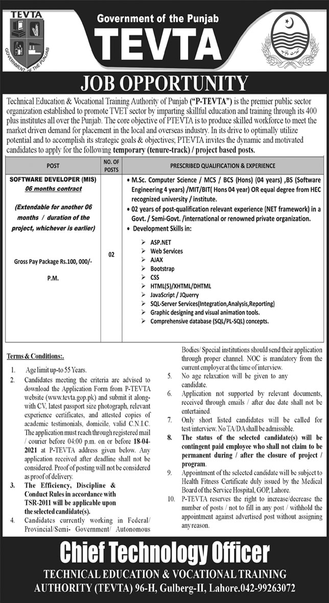 Government of the Punjab TEVTA Jobs April 2021