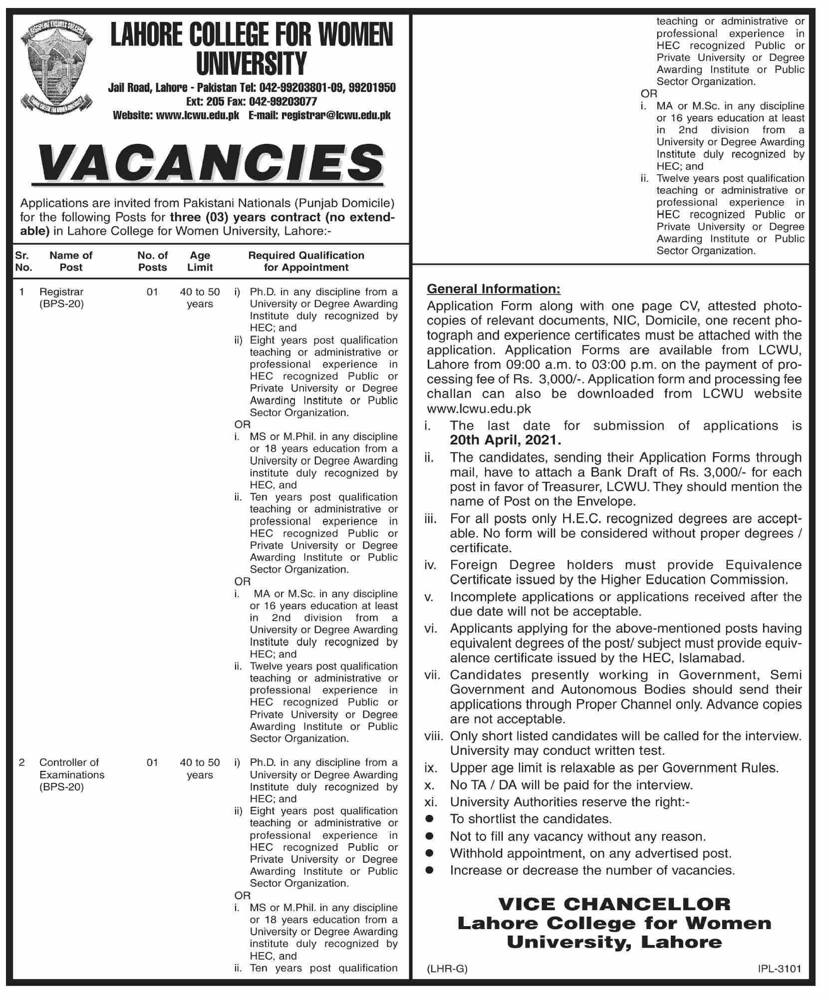 Lahore College for Women University LCWU Jobs April 2021