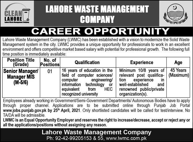 Lahore Waste Management Company Government of the Punjab Jobs April 2021