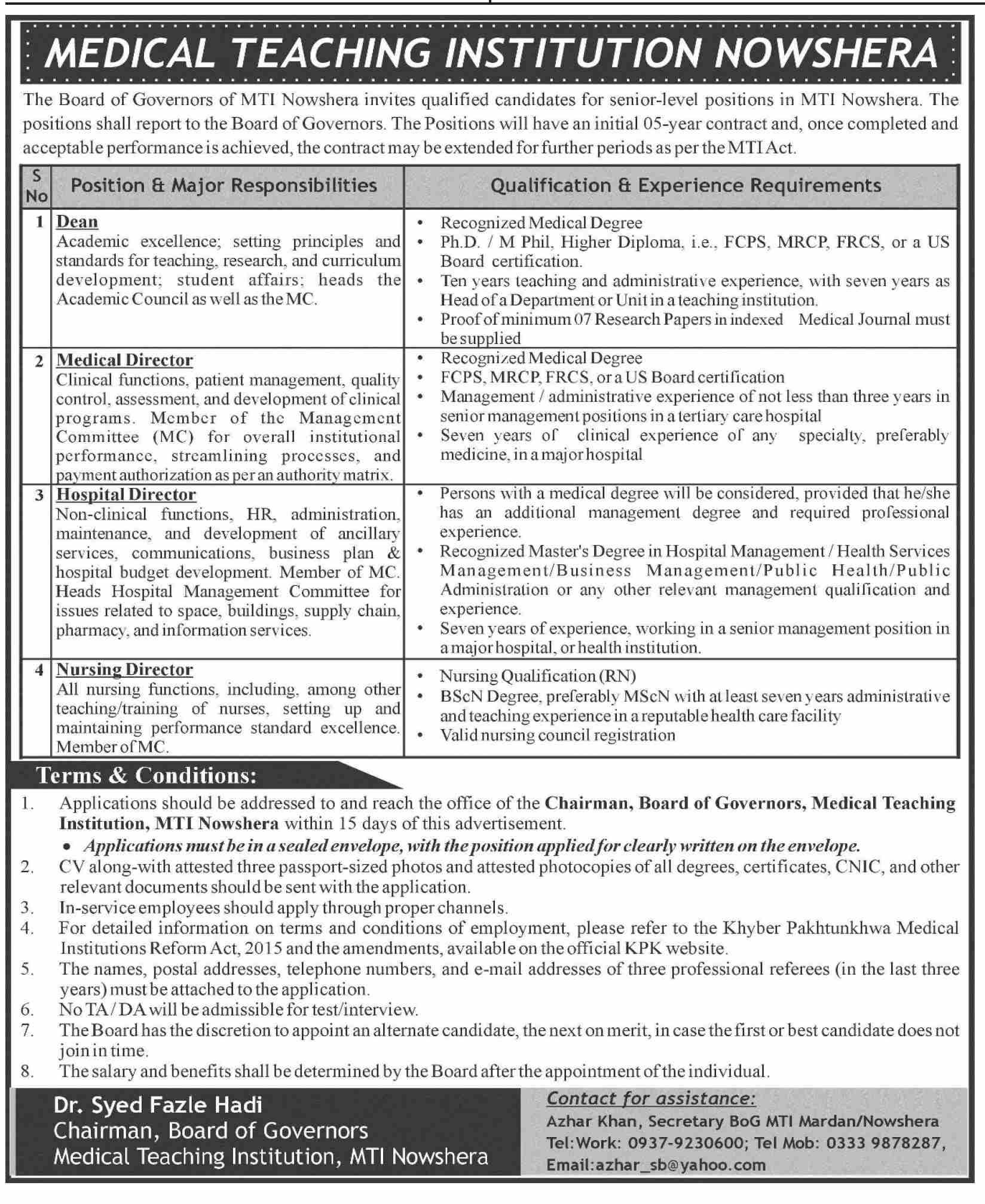 Medical Teaching Institution MTI Nowshera Jobs April 2021