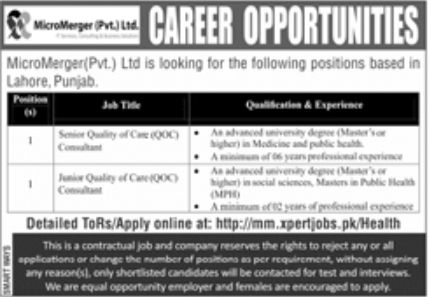 MicroMerger Pvt Ltd Jobs April 2021