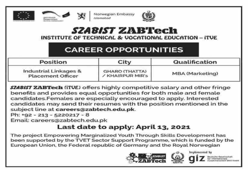 SZABIST Institute of Technology & Vocational Education Jobs April 2021
