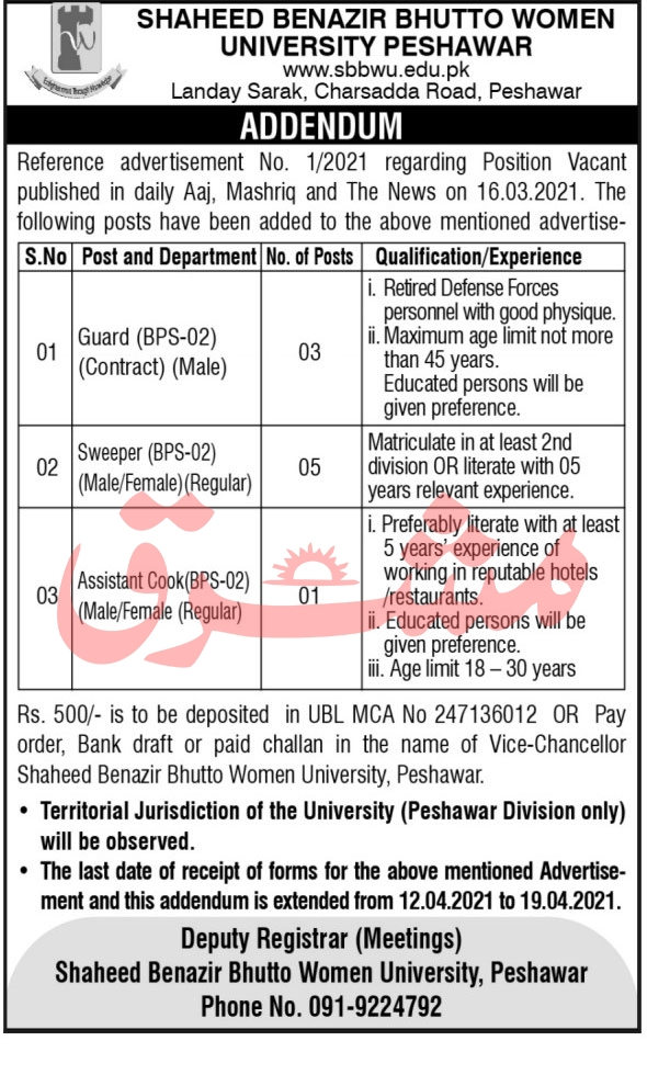 Shaheed Benazir Bhutto Women University Peshawar Jobs April 2021
