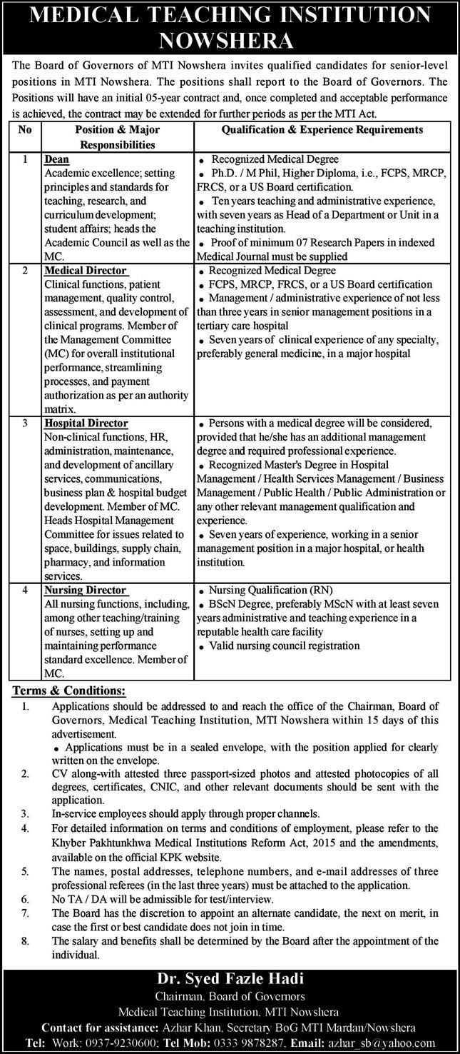 The Board of Governors MTI Nowshera Jobs April 2021