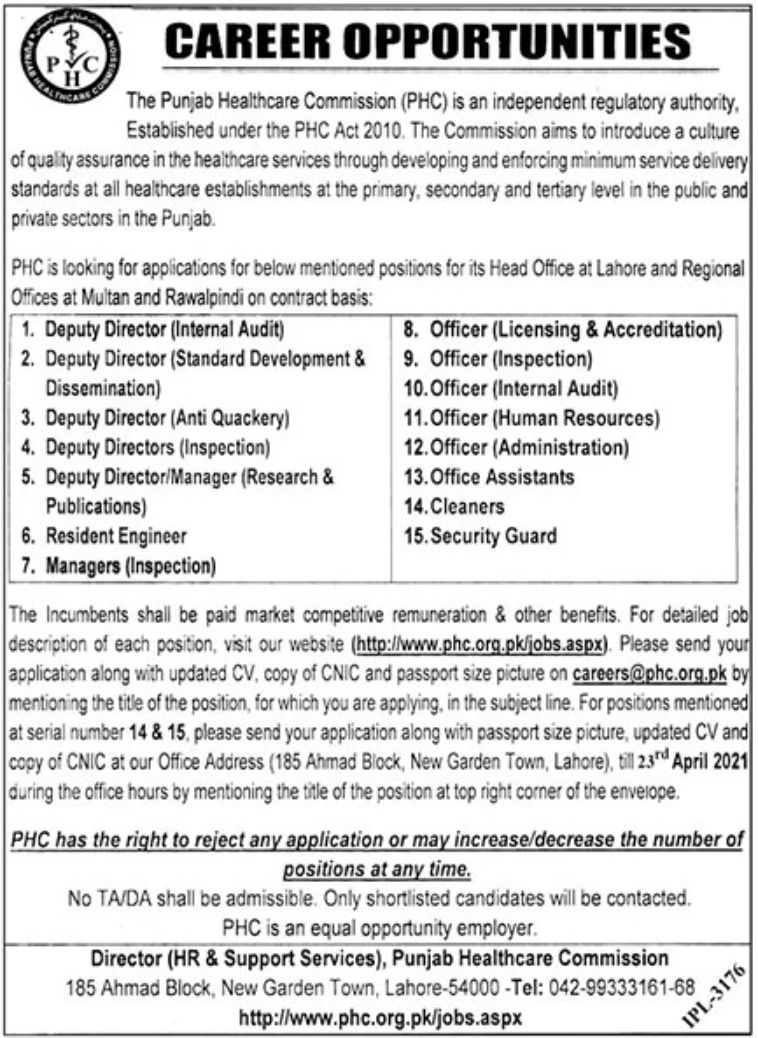 The Punjab Healthcare Commission (PHC) Jobs April 2021