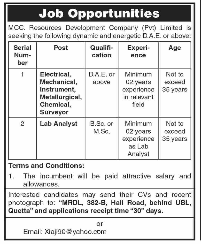 MCC Resources Development Company Pvt Limited Jobs August 2021