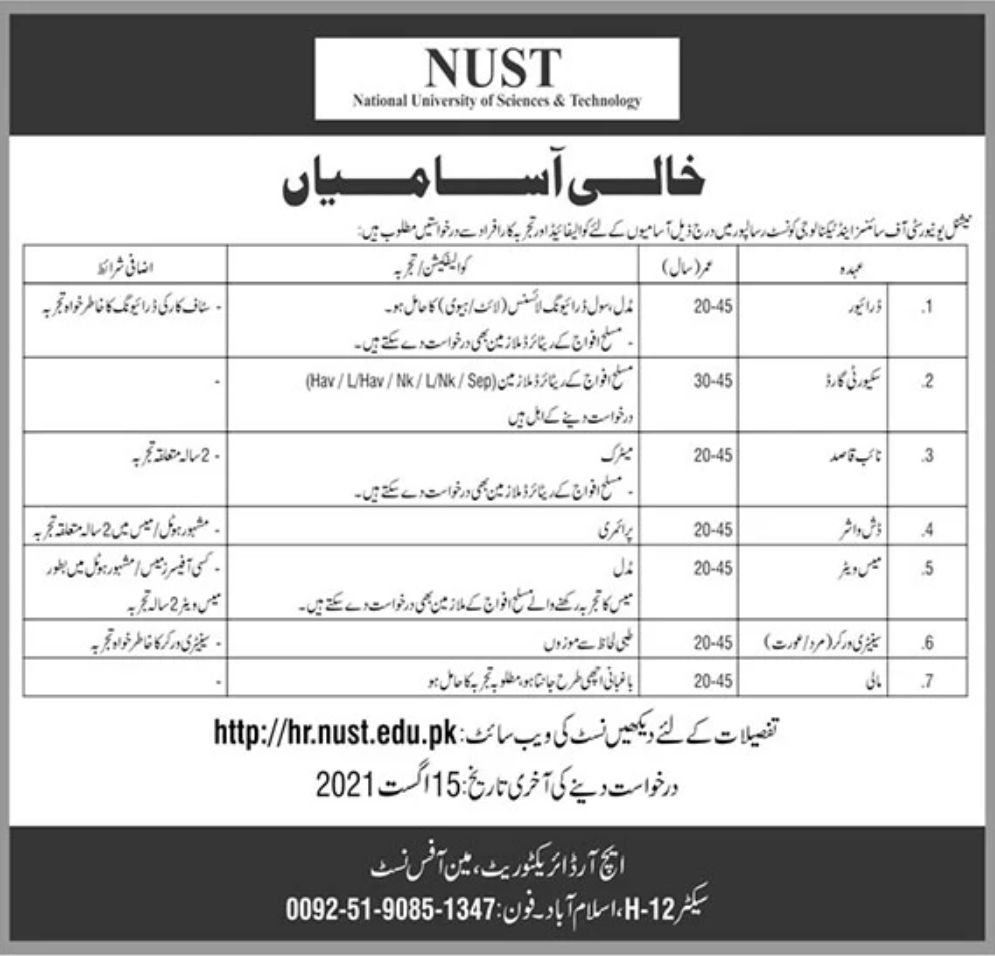 National University of Sciences and Technology NUST Jobs August 2021