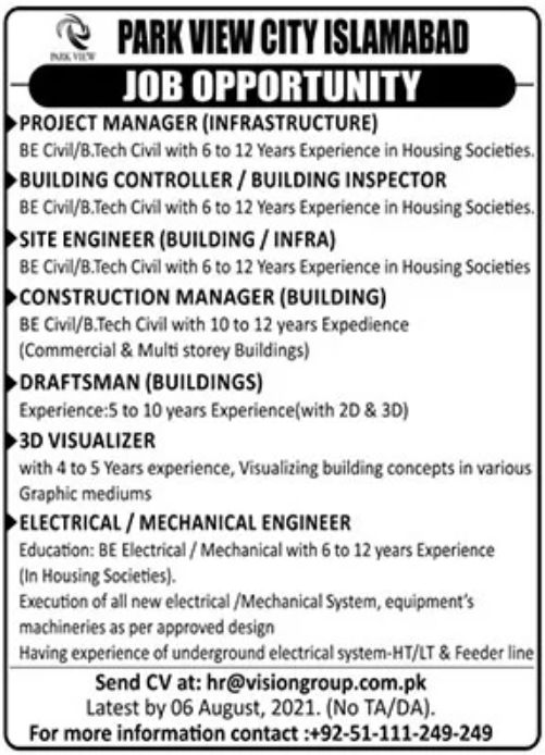 Park View City Islamabad Jobs August 2021