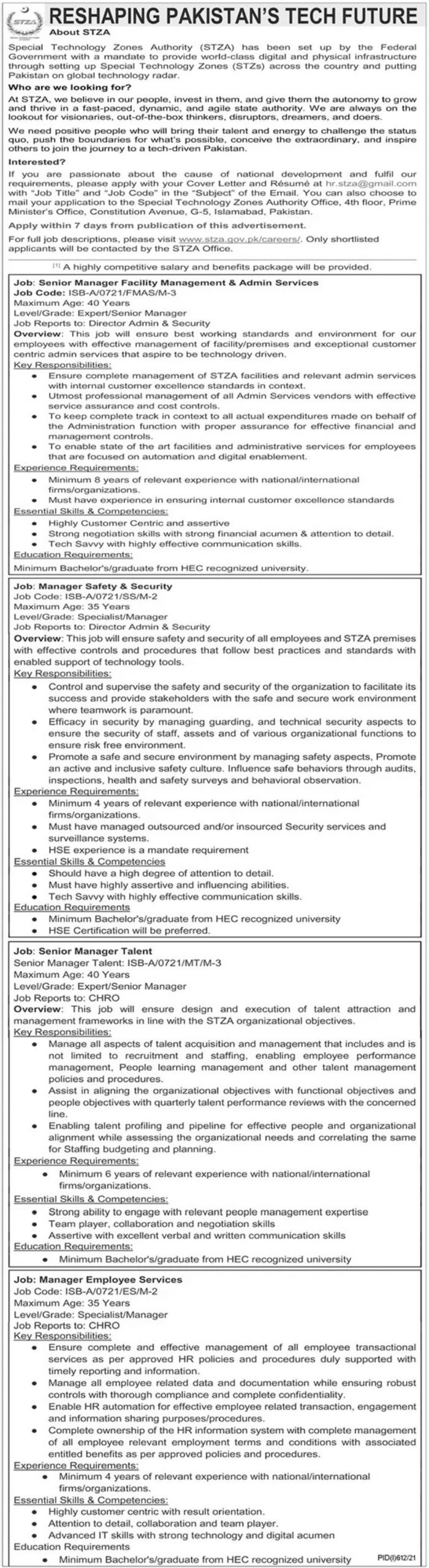 Special Technology Zones Authority STZA Jobs August 2021