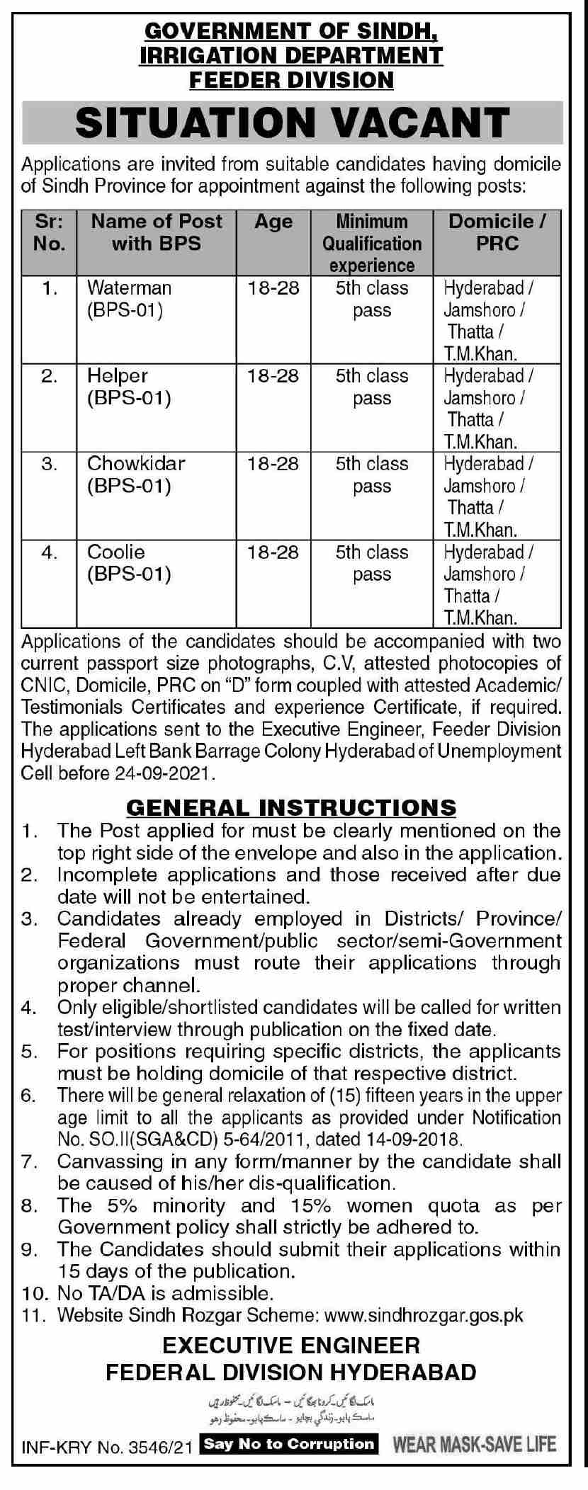 Government of Sindh Irrigation Department Feeder Division Jobs September 2021