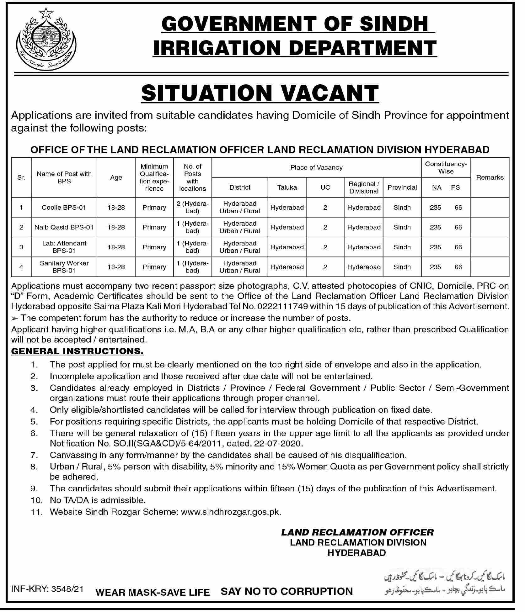 Government of Sindh Irrigation Department Jobs Latest September 2021