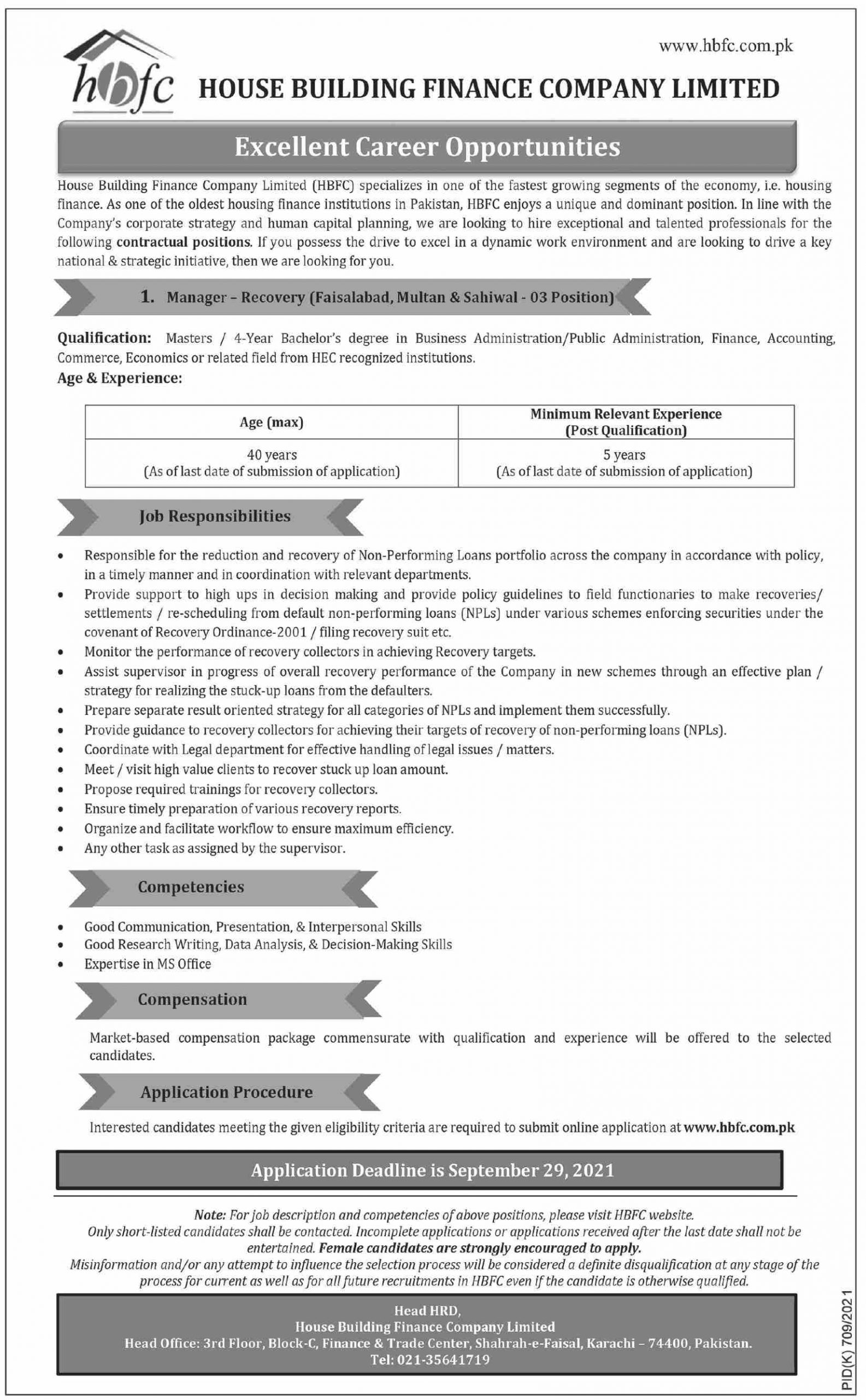 House Building Finance Company Limited Jobs September 2021