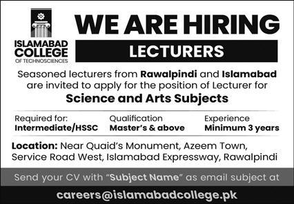 Islamabad College of Techno Sciences Jobs September 2021