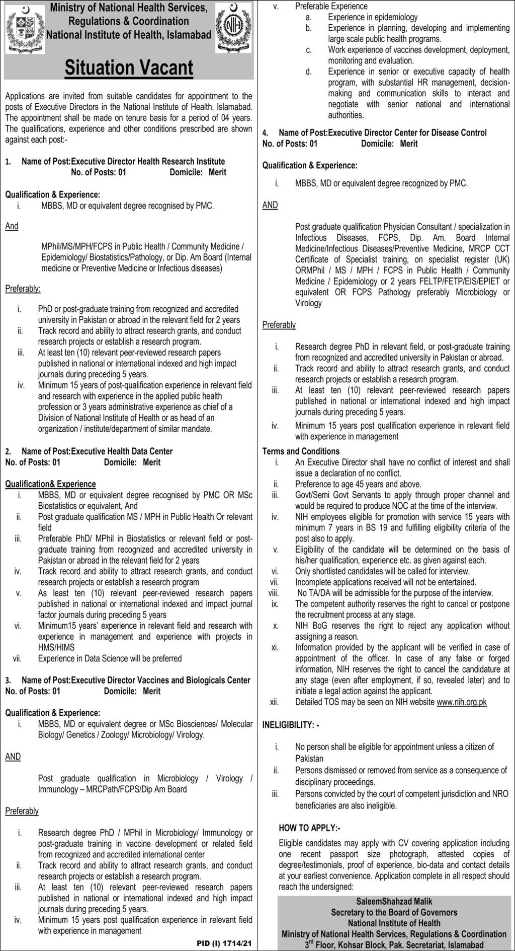 Ministry of National Health Services, Regulations & Coordination National Institute of Health Islamabad Jobs September 2021
