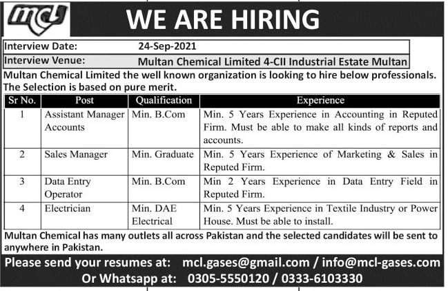Multan Chemical Limited MCL Jobs September 2021