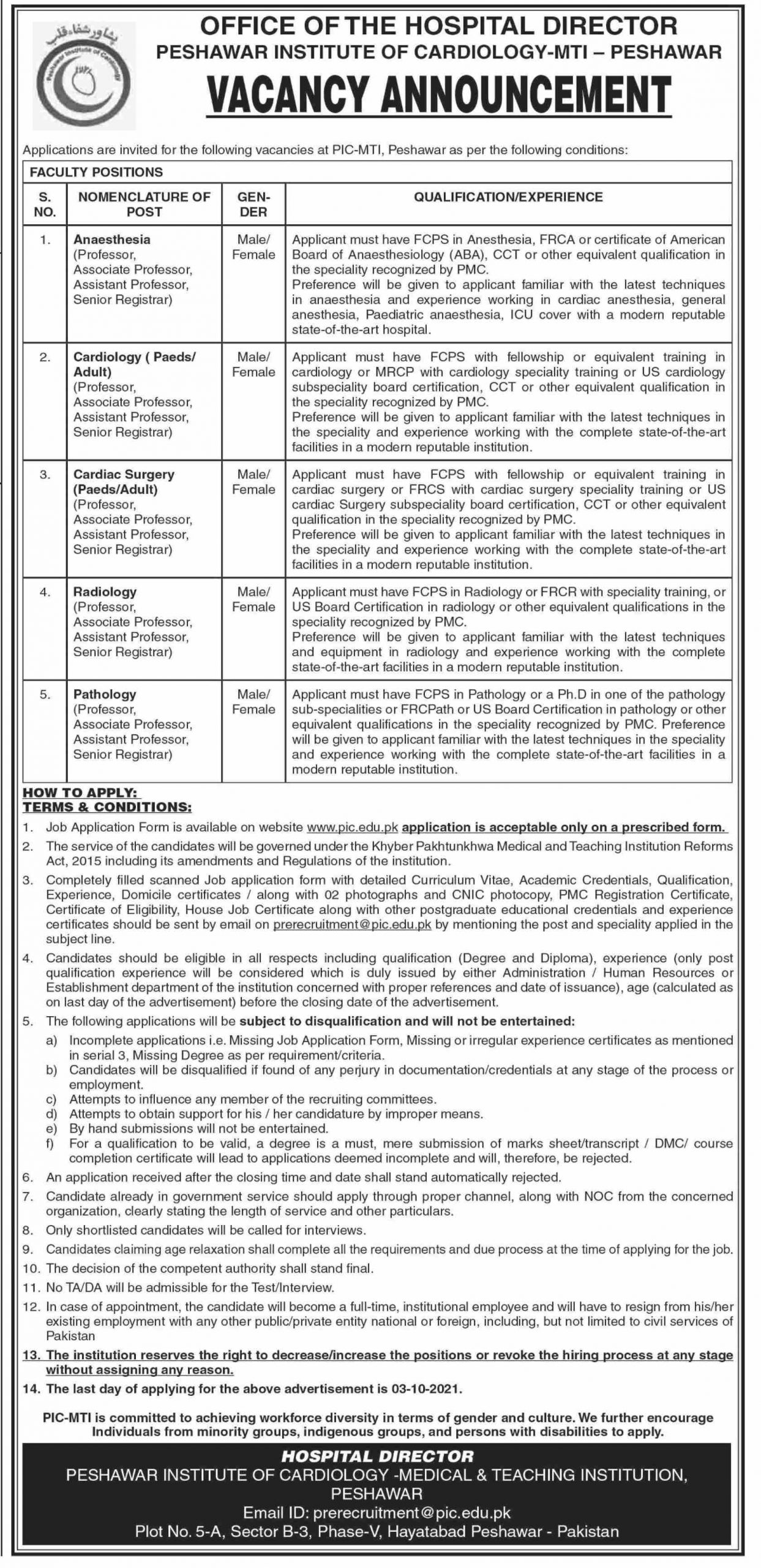 Latest PaperPk Jobs in Peshawar Institute of Cardiology