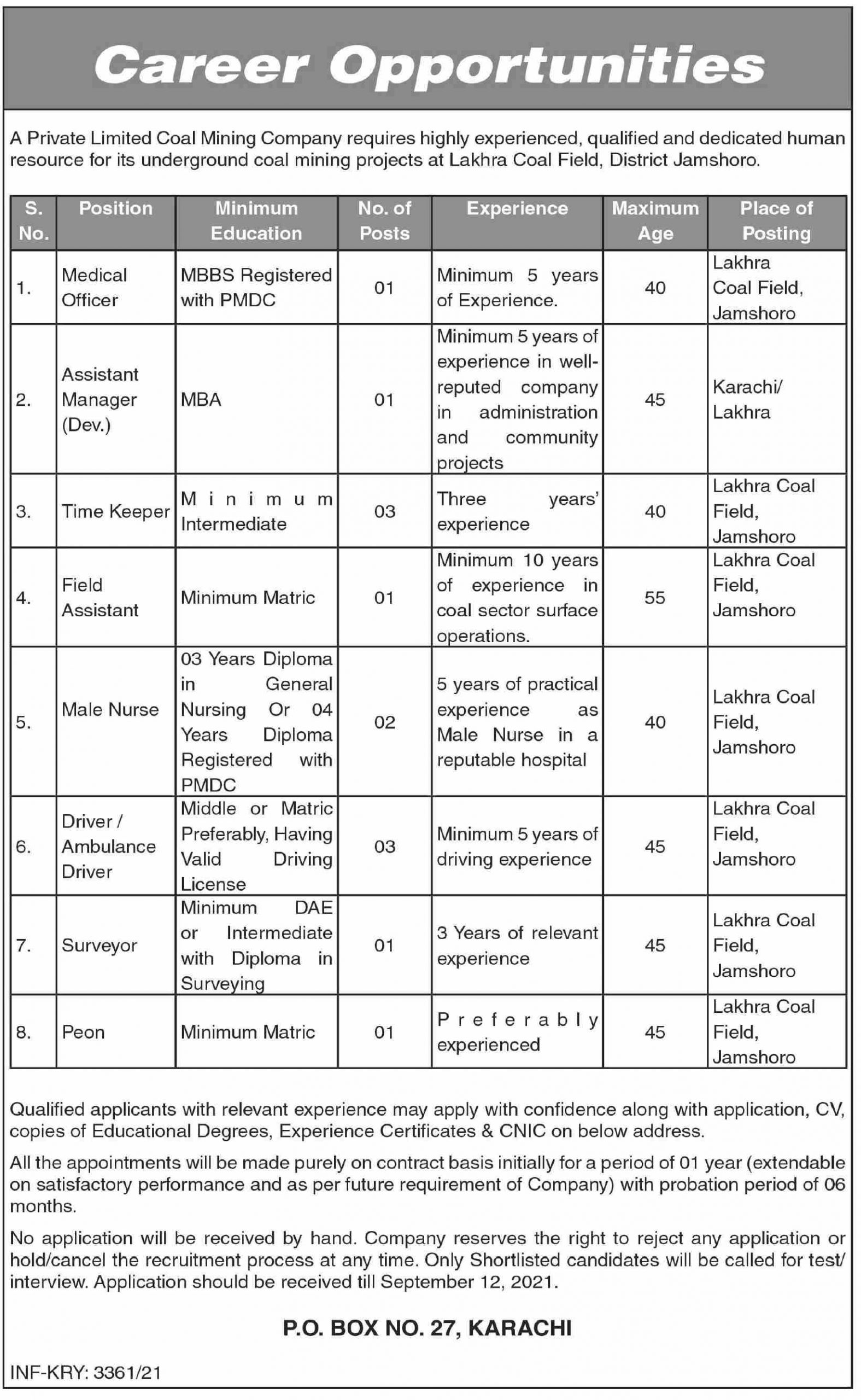 Private Limited Coal Mining Company Jobs September 2021