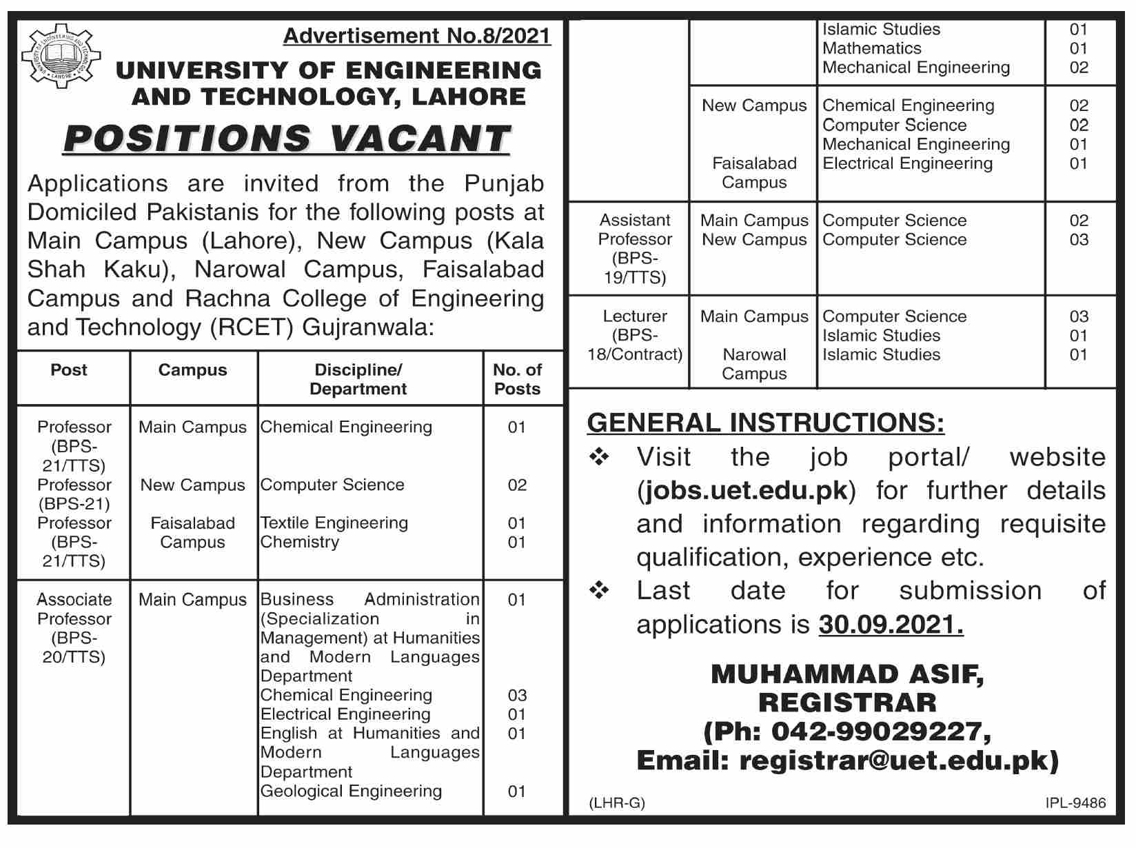 University of Engineering and Technology UET Lahore Jobs September 2021