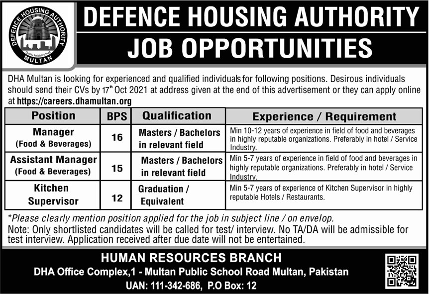 Defence Housing Authority DHA Jobs October 2021
