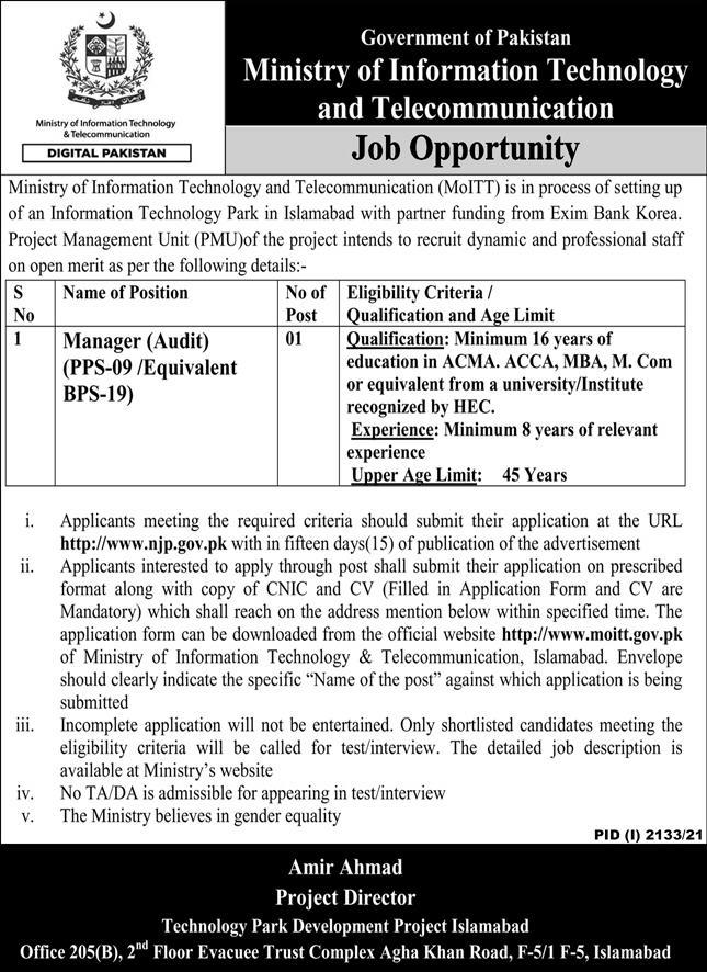 Government of Pakistan Ministry of Information Technology and Telecommunication Jobs October 2021