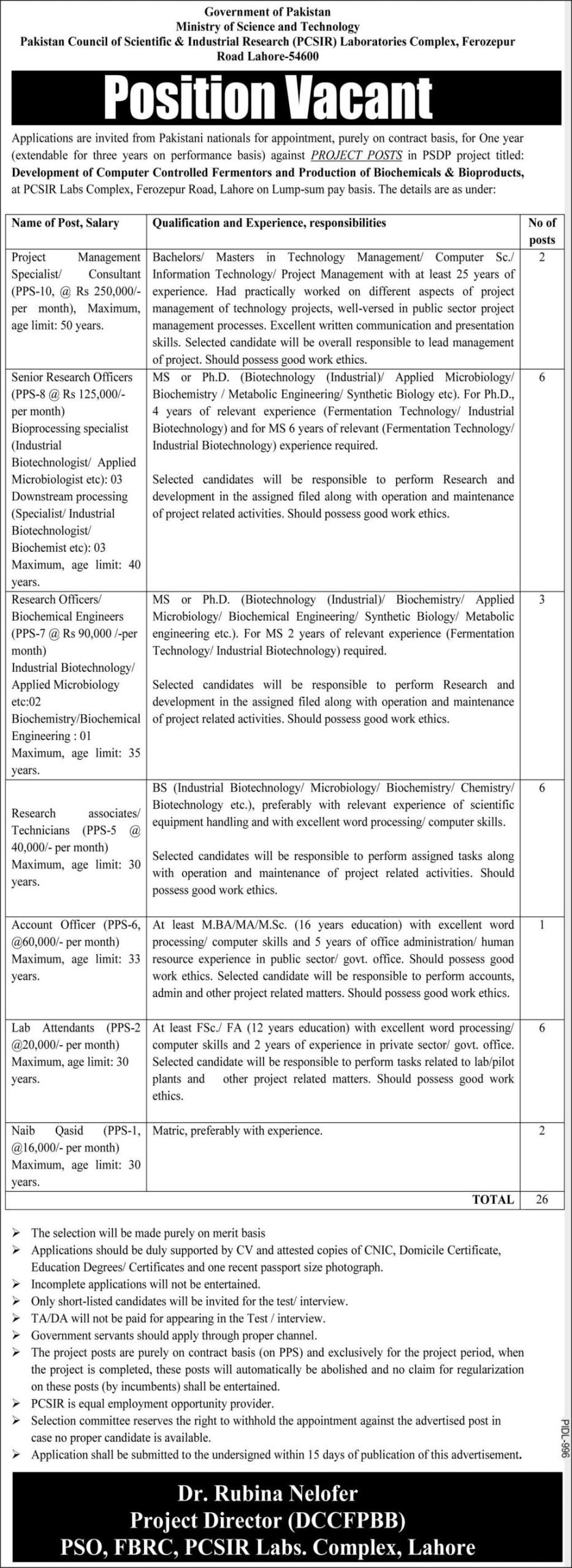 Government of Pakistan - Ministry of Science and Technology Jobs October 2021