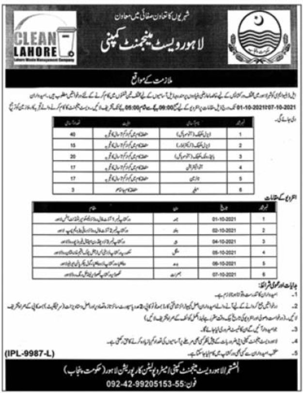 Lahore Waste Management Company LWMC Jobs September 2021