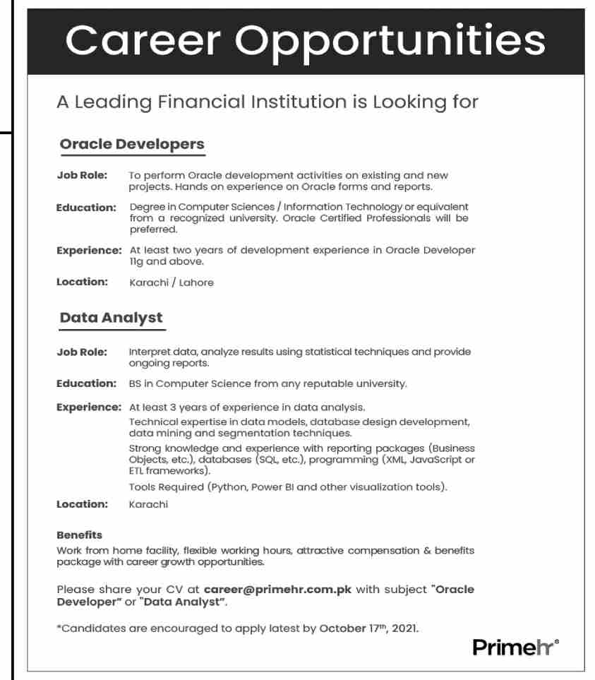 Leading Financial Institution Jobs October 2021
