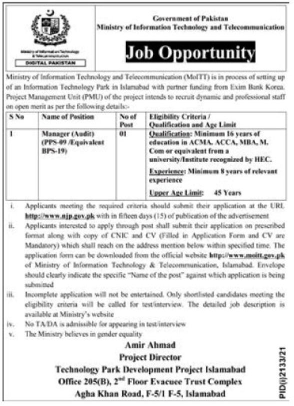 Ministry of Information Technology and Telecommunication Jobs October 2021