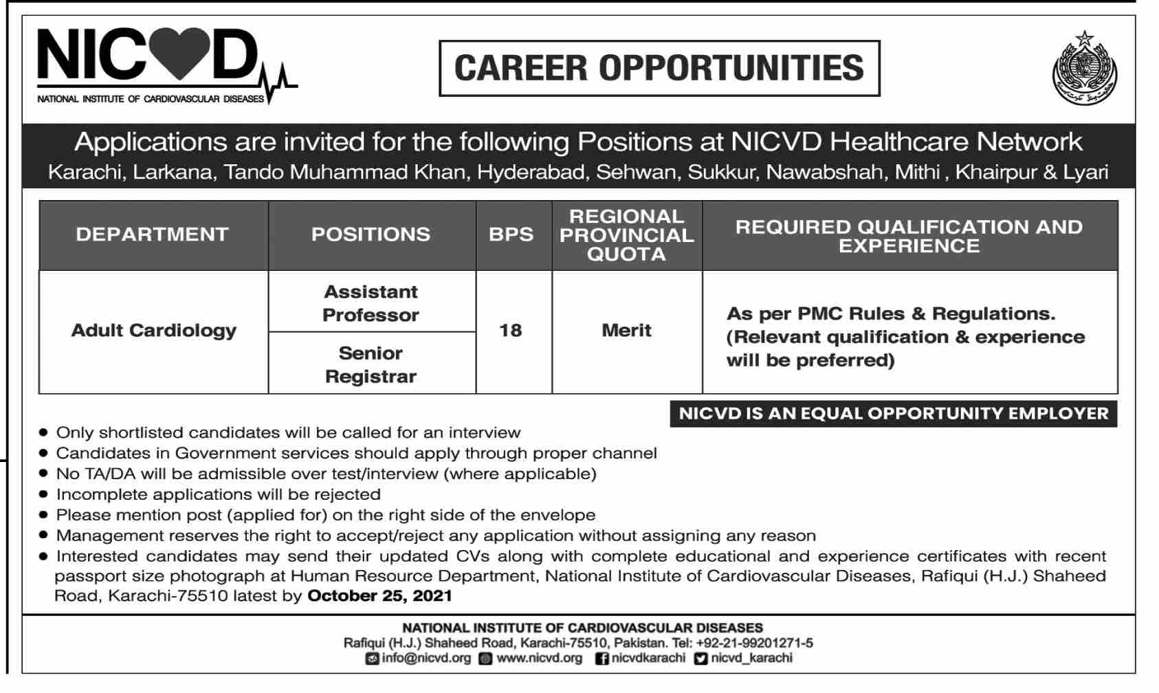 National Institute of Cardiovascular Diseases Jobs October 2021