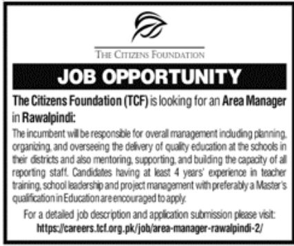 The Citizens Foundation Jobs October 2021