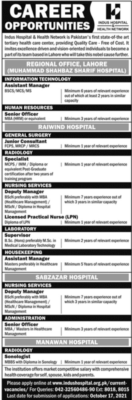 The Indus Hospital Jobs October 2021