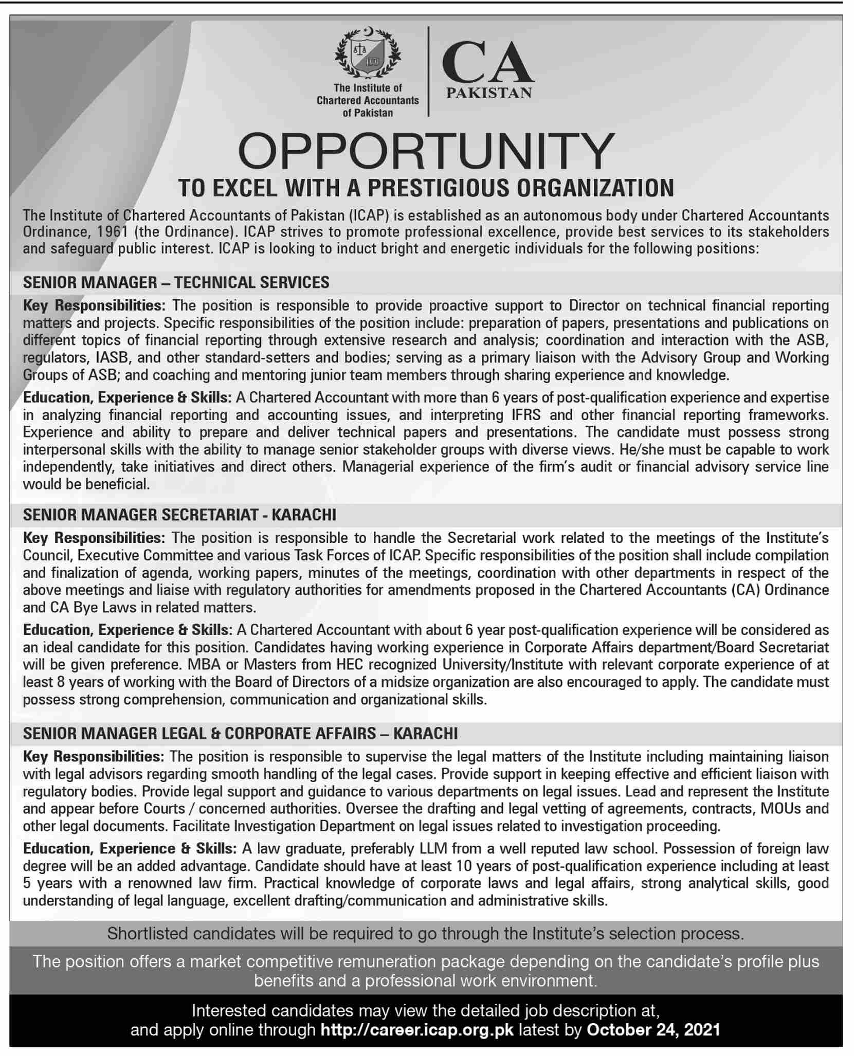 The Institute of Chartered Accountants of Pakistan ICAP Jobs October 2021